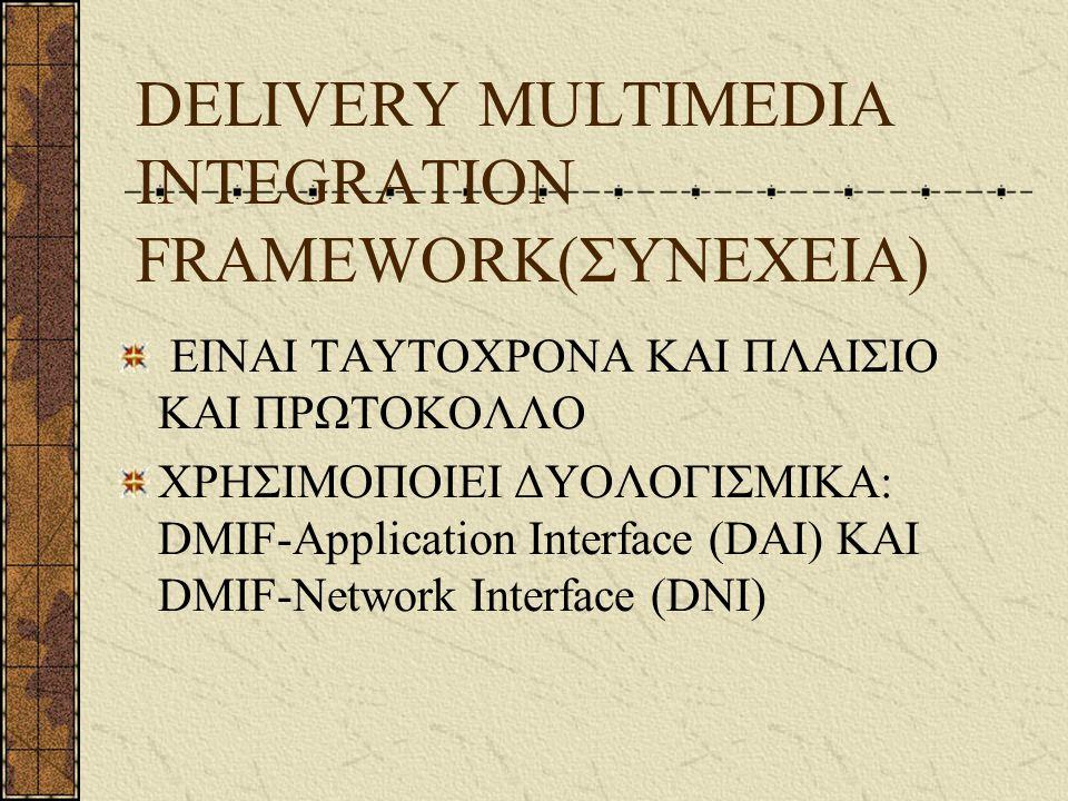 DELIVERY MULTIMEDIA INTEGRATION FRAMEWORK(ΣΥΝΕΧΕΙΑ) ΕΙΝΑΙ ΤΑΥΤΟΧΡΟΝΑ ΚΑΙ ΠΛΑΙΣΙΟ ΚΑΙ ΠΡΩΤΟΚΟΛΛΟ ΧΡΗΣΙΜΟΠΟΙΕΙ ΔΥΟΛΟΓΙΣΜΙΚΑ: DMIF-Application Interface