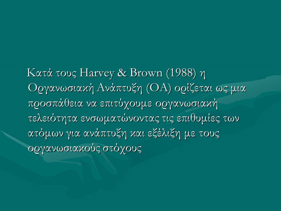 Κατά τους Harvey & Brown (1988) η Οργανωσιακή Ανάπτυξη (ΟΑ) ορίζεται ως μια προσπάθεια να επιτύχουμε οργανωσιακή τελειότητα ενσωματώνοντας τις επιθυμίες των ατόμων για ανάπτυξη και εξέλιξη με τους οργανωσιακούς στόχους Κατά τους Harvey & Brown (1988) η Οργανωσιακή Ανάπτυξη (ΟΑ) ορίζεται ως μια προσπάθεια να επιτύχουμε οργανωσιακή τελειότητα ενσωματώνοντας τις επιθυμίες των ατόμων για ανάπτυξη και εξέλιξη με τους οργανωσιακούς στόχους
