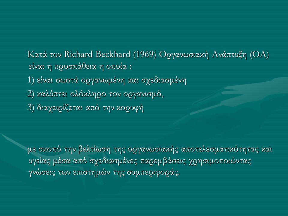 Κατά τον Richard Beckhard (1969) Οργανωσιακή Ανάπτυξη (ΟΑ) είναι η προσπάθεια η οποία : Κατά τον Richard Beckhard (1969) Οργανωσιακή Ανάπτυξη (ΟΑ) είναι η προσπάθεια η οποία : 1) είναι σωστά οργανωμένη και σχεδιασμένη 1) είναι σωστά οργανωμένη και σχεδιασμένη 2) καλύπτει ολόκληρο τον οργανισμό, 2) καλύπτει ολόκληρο τον οργανισμό, 3) διαχειρίζεται από την κορυφή 3) διαχειρίζεται από την κορυφή με σκοπό την βελτίωση της οργανωσιακής αποτελεσματικότητας και υγείας μέσα από σχεδιασμένες παρεμβάσεις χρησιμοποιώντας γνώσεις των επιστημών της συμπεριφοράς.