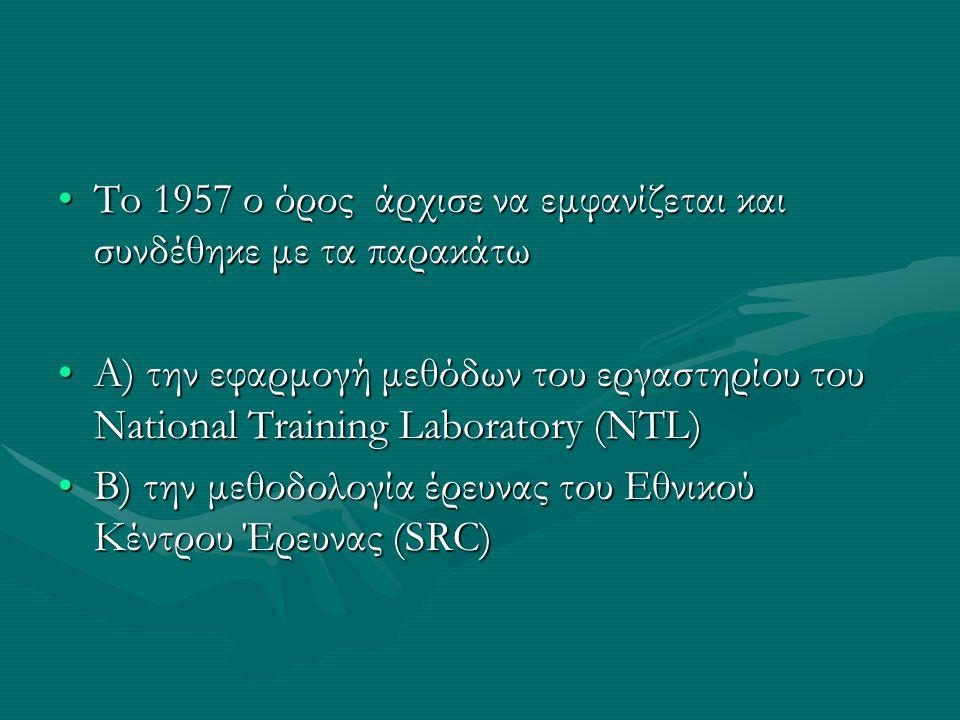 To 1957 ο όρος άρχισε να εμφανίζεται και συνδέθηκε με τα παρακάτωTo 1957 ο όρος άρχισε να εμφανίζεται και συνδέθηκε με τα παρακάτω Α) την εφαρμογή μεθ