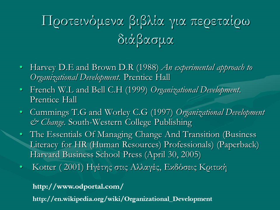 Προτεινόμενα βιβλία για περεταίρω διάβασμα Harvey D.E and Brown D.R (1988) An experimental approach to Organizational Development. Prentice HallHarvey