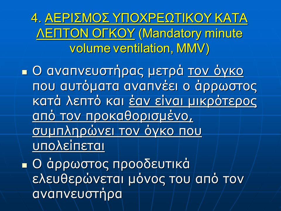 4. ΑΕΡΙΣΜΟΣ ΥΠΟΧΡΕΩΤΙΚΟΥ ΚΑΤA ΛΕΠΤΟΝ ΟΓΚΟΥ (Mandatory minute volume ventilation, MMV) O αναπνευστήρας μετρά τον όγκο που αυτόματα αναπνέει ο άρρωστος
