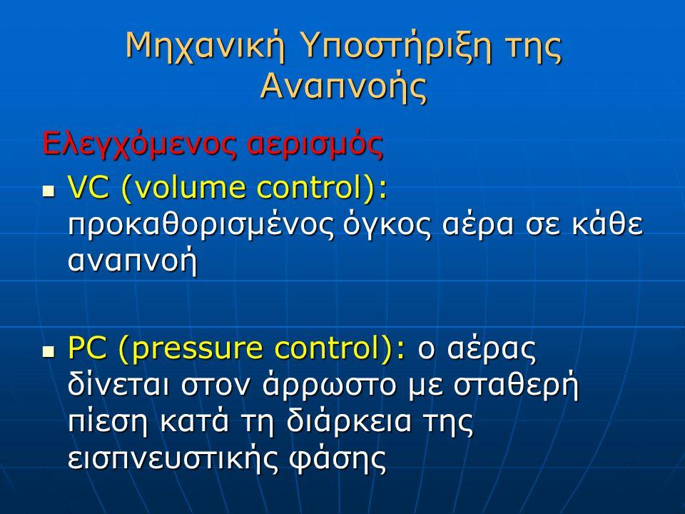 Μηχανική Υποστήριξη της Αναπνοής Ελεγχόμενος αερισμός VC (volume control): προκαθορισμένος όγκος αέρα σε κάθε αναπνοή VC (volume control): προκαθορισμένος όγκος αέρα σε κάθε αναπνοή PC (pressure control): ο αέρας δίνεται στον άρρωστο με σταθερή πίεση κατά τη διάρκεια της εισπνευστικής φάσης PC (pressure control): ο αέρας δίνεται στον άρρωστο με σταθερή πίεση κατά τη διάρκεια της εισπνευστικής φάσης