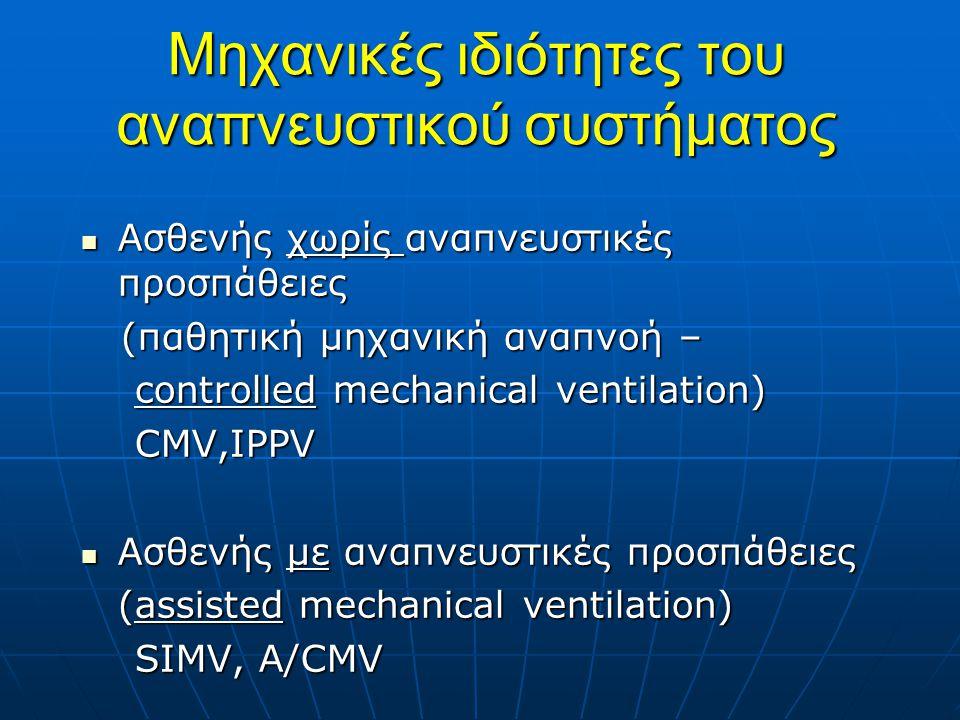 Μηχανικές ιδιότητες του αναπνευστικού συστήματος Ασθενής χωρίς αναπνευστικές προσπάθειες Ασθενής χωρίς αναπνευστικές προσπάθειες (παθητική μηχανική αναπνοή – (παθητική μηχανική αναπνοή – controlled mechanical ventilation) controlled mechanical ventilation) CMV,IPPV CMV,IPPV Ασθενής με αναπνευστικές προσπάθειες Ασθενής με αναπνευστικές προσπάθειες (assisted mechanical ventilation) SIMV, A/CMV SIMV, A/CMV