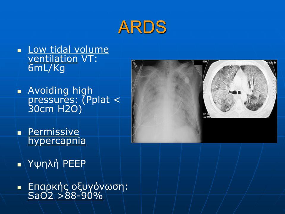 ΑRDS Low tidal volume ventilation VT: 6mL/Kg Avoiding high pressures: (Pplat < 30cm H2O) Permissive hypercapnia Υψηλή PEEP Επαρκής οξυγόνωση: SaO2 >88-90%
