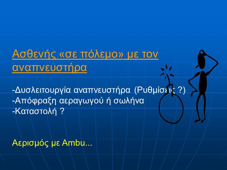 Ασθενής «σε πόλεμο» με τον αναπνευστήρα -Δυσλειτουργία αναπνευστήρα (Ρυθμίσεις ?) -Απόφραξη αεραγωγού ή σωλήνα -Καταστολή .