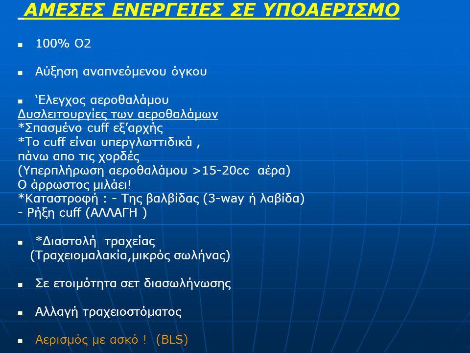 ΑΜΕΣΕΣ ΕΝΕΡΓΕΙΕΣ ΣΕ ΥΠΟΑΕΡΙΣΜΟ 100% Ο2 Αύξηση αναπνεόμενου όγκου 'Ελεγχος αεροθαλάμου Δυσλειτουργίες των αεροθαλάμων *Σπασμένο cuff εξ'αρχής *Το cuff είναι υπεργλωττιδικά, πάνω απο τις χορδές (Υπερπλήρωση αεροθαλάμου >15-20cc αέρα) Ο άρρωστος μιλάει.