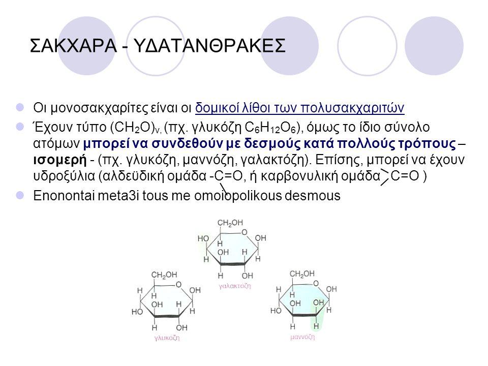 ΣΑΚΧΑΡΑ - ΥΔΑΤΑΝΘΡΑΚΕΣ Οι μονοσακχαρίτες είναι οι δομικοί λίθοι των πολυσακχαριτών Έχουν τύπο (CH 2 O) ν, (πχ. γλυκόζη C 6 H 12 O 6 ), όμως το ίδιο σύ