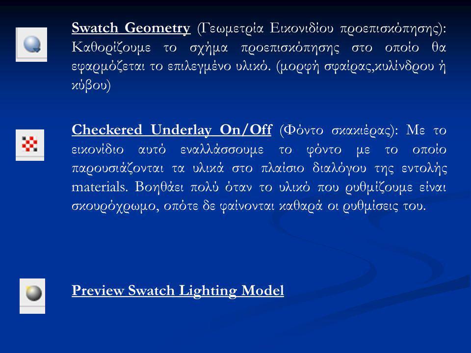 Swatch Geometry (Γεωμετρία Εικονιδίου προεπισκόπησης): Καθορίζουμε το σχήμα προεπισκόπησης στο οποίο θα εφαρμόζεται το επιλεγμένο υλικό.