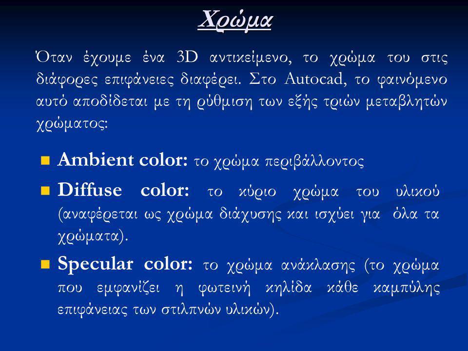 Χρώμα Ambient color: το χρώμα περιβάλλοντος Diffuse color: το κύριο χρώμα του υλικού (αναφέρεται ως χρώμα διάχυσης και ισχύει για όλα τα χρώματα).