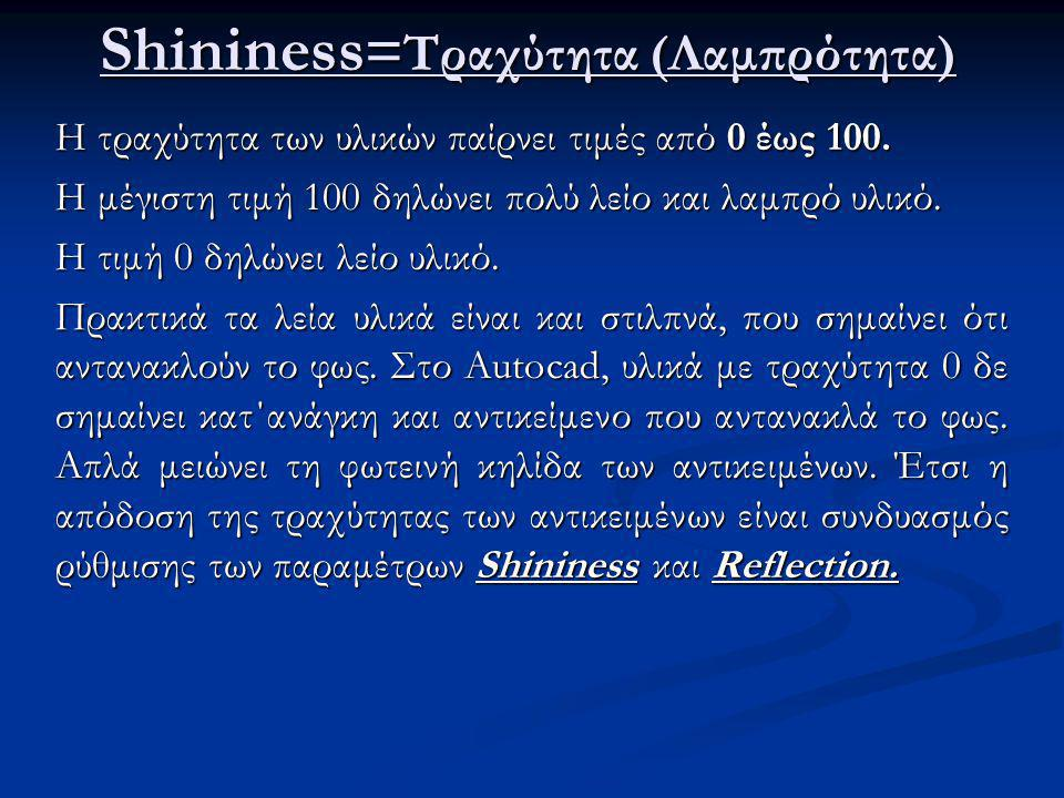 Shininess = Τραχύτητα (Λαμπρότητα) Η τραχύτητα των υλικών παίρνει τιμές από 0 έως 100.