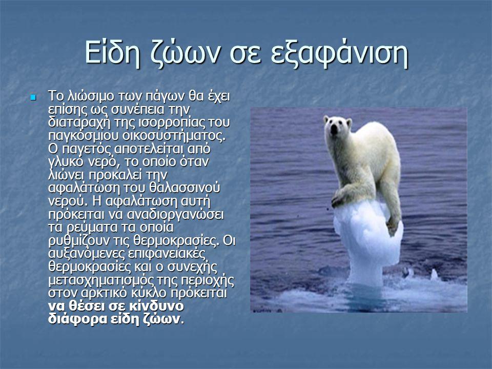 Είδη ζώων σε εξαφάνιση Το λιώσιμο των πάγων θα έχει επίσης ως συνέπεια την διαταραχή της ισορροπίας του παγκόσμιου οικοσυστήματος. Ο παγετός αποτελείτ