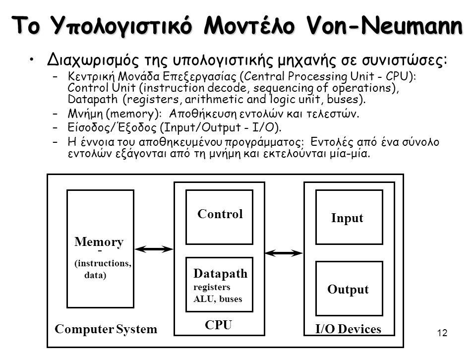 12 Το Υπολογιστικό Μοντέλο Von-Neumann Διαχωρισμός της υπολογιστικής μηχανής σε συνιστώσες: –Κεντρική Μονάδα Επεξεργασίας (Central Processing Unit - C