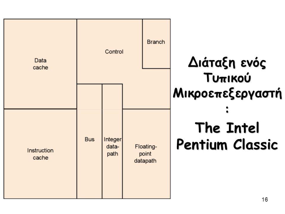 16 Διάταξη ενός Τυπικού Μικροεπεξεργαστή : The Intel Pentium Classic