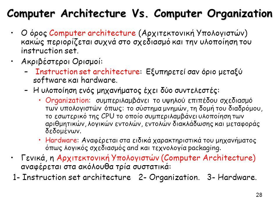 28 Computer Architecture Vs. Computer Organization Ο όρος Computer architecture (Αρχιτεκτονική Υπολογιστών) κακώς περιορίζεται συχνά στο σχεδιασμό και