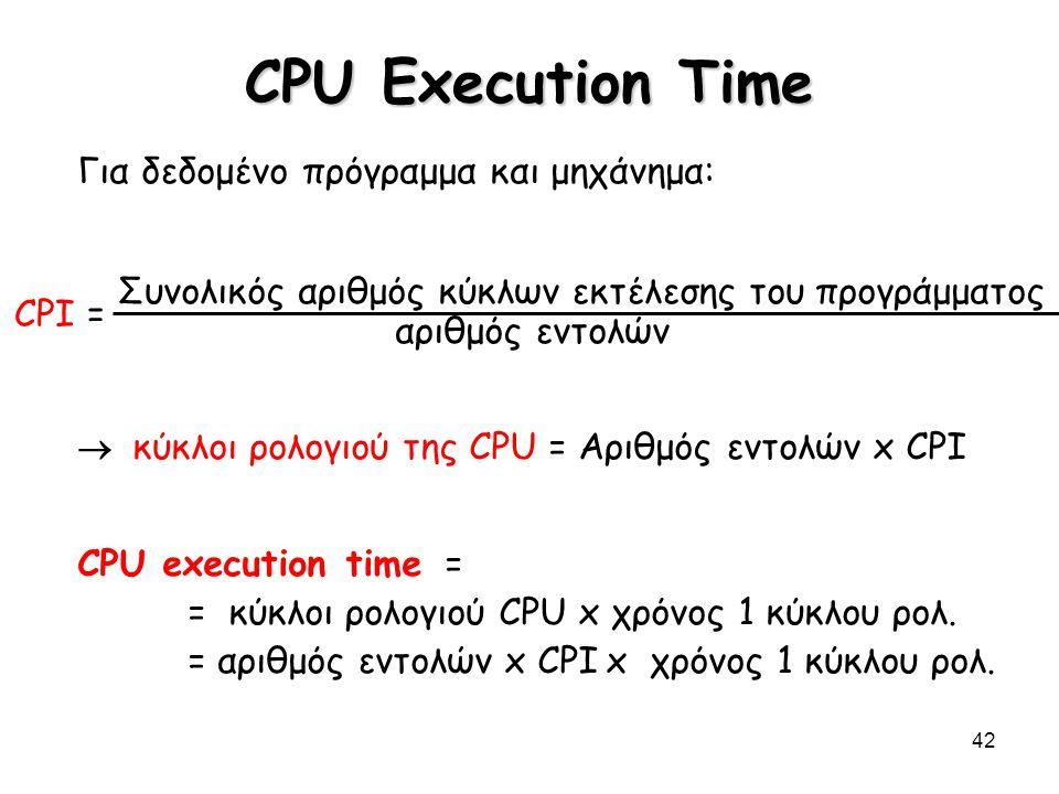 42 CPU Execution Time Για δεδομένο πρόγραμμα και μηχάνημα: Συνολικός αριθμός κύκλων εκτέλεσης του προγράμματος αριθμός εντολών  κύκλοι ρολογιού της C