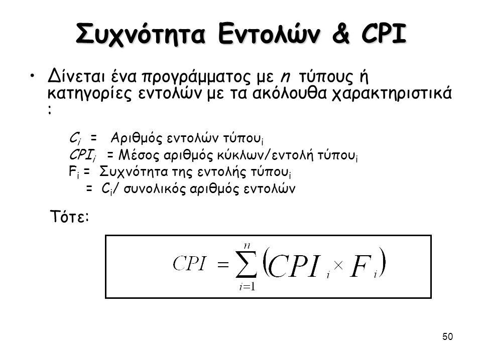 50 Συχνότητα Εντολών & CPI Δίνεται ένα προγράμματος με n τύπους ή κατηγορίες εντολών με τα ακόλουθα χαρακτηριστικά : C i = Αριθμός εντολών τύπου i CPI