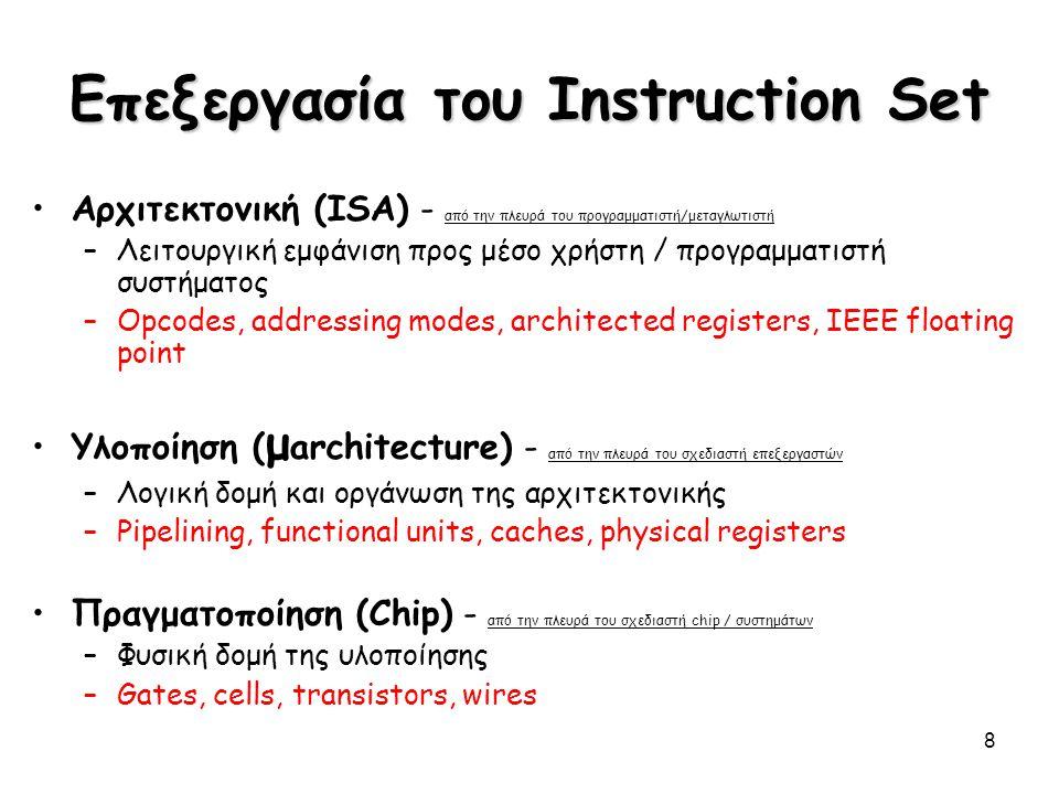 8 Επεξεργασία του Instruction Set Αρχιτεκτονική (ISA) - από την πλευρά του προγραμματιστή/μεταγλωτιστή –Λειτουργική εμφάνιση προς μέσο χρήστη / προγρα