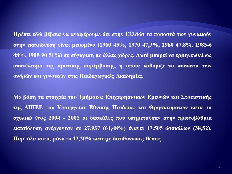 Πρέπει εδώ βέβαια να αναφέρουμε ότι στην Ελλάδα τα ποσοστά των γυναικών στην εκπαίδευση είναι μειωμένα (1960 45%, 1970 47,3%, 1980 47,8%, 1985-6 48%, 1989-90 51%) σε σύγκριση με άλλες χώρες.