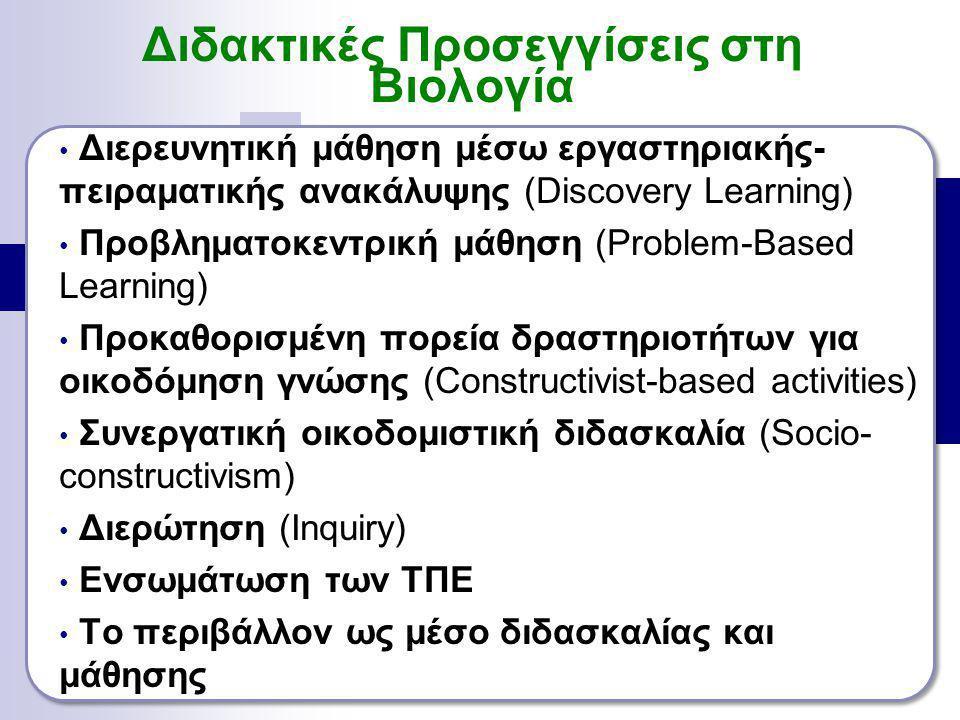Διερευνητική μάθηση μέσω εργαστηριακής- πειραματικής ανακάλυψης (Discovery Learning) Προβληματοκεντρική μάθηση (Problem-Based Learning) Προκαθορισμένη πορεία δραστηριοτήτων για οικοδόμηση γνώσης (Constructivist-based activities) Συνεργατική οικοδομιστική διδασκαλία (Socio- constructivism) Διερώτηση (Inquiry) Ενσωμάτωση των ΤΠΕ To περιβάλλον ως μέσο διδασκαλίας και μάθησης Διδακτικές Προσεγγίσεις στη Βιολογία