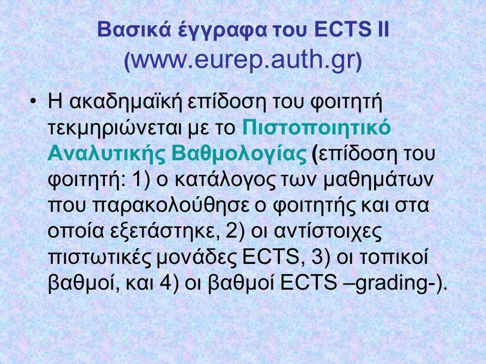 Bασικά έγγραφα του ECTS III ( www.eurep.auth.gr ) Το Πιστοποιητικό Αναγνώρισης (Proof of Recognition), με το οποίο το Ίδρυμα προέλευσης πιστοποιεί την πλήρη αναγνώριση και μεταφορά των πιστωτικών μονάδων των μαθημάτων, στα οποία εξετάστηκε επιτυχώς κάθε διακινούμενος φοιτητής του σε συνεργαζόμενο ευρωπαϊκό ΑΕΙ.