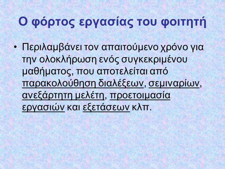 E C T S Yπολογισμός των ECTS μονάδων ECTS 60 διδακτ.