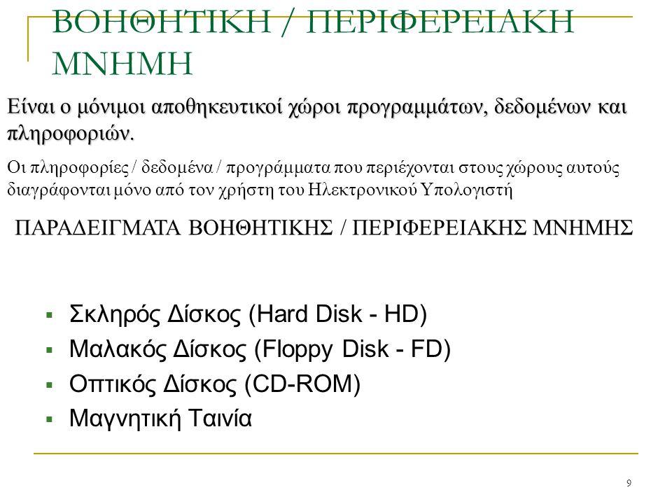 9 ΒΟΗΘΗΤΙΚΗ / ΠΕΡΙΦΕΡΕΙΑΚΗ ΜΝΗΜΗ  Σκληρός Δίσκος (Hard Disk - HD)  Μαλακός Δίσκος (Floppy Disk - FD)  Οπτικός Δίσκος (CD-ROM)  Μαγνητική Ταινία Εί
