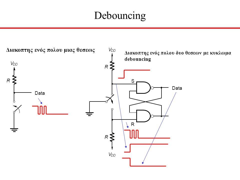 Debouncing Data S R V DD R V R Διακοπτης ενός πολου μιας θεσεως Data V DD R Διακοπτης ενός πολου δυο θεσεων με κυκλωμα debouncing