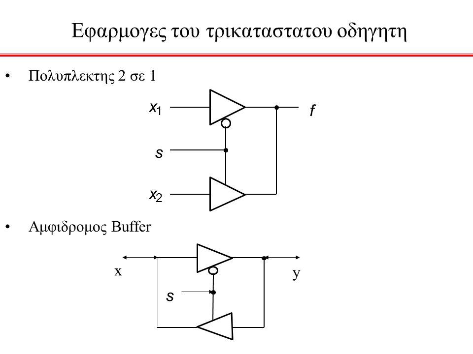 Εφαρμογες του τρικαταστατου οδηγητη f x 1 x 2 s Πολυπλεκτης 2 σε 1 Αμφιδρομος Buffer s x y