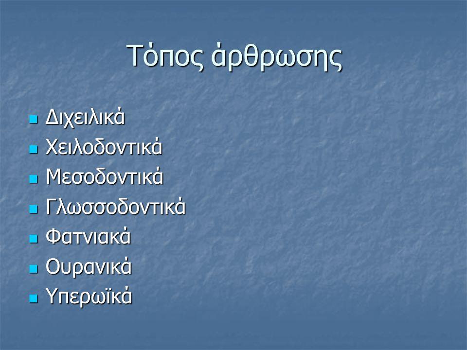 Τόπος άρθρωσης Διχειλικά Διχειλικά Χειλοδοντικά Χειλοδοντικά Μεσοδοντικά Μεσοδοντικά Γλωσσοδοντικά Γλωσσοδοντικά Φατνιακά Φατνιακά Ουρανικά Ουρανικά Υ