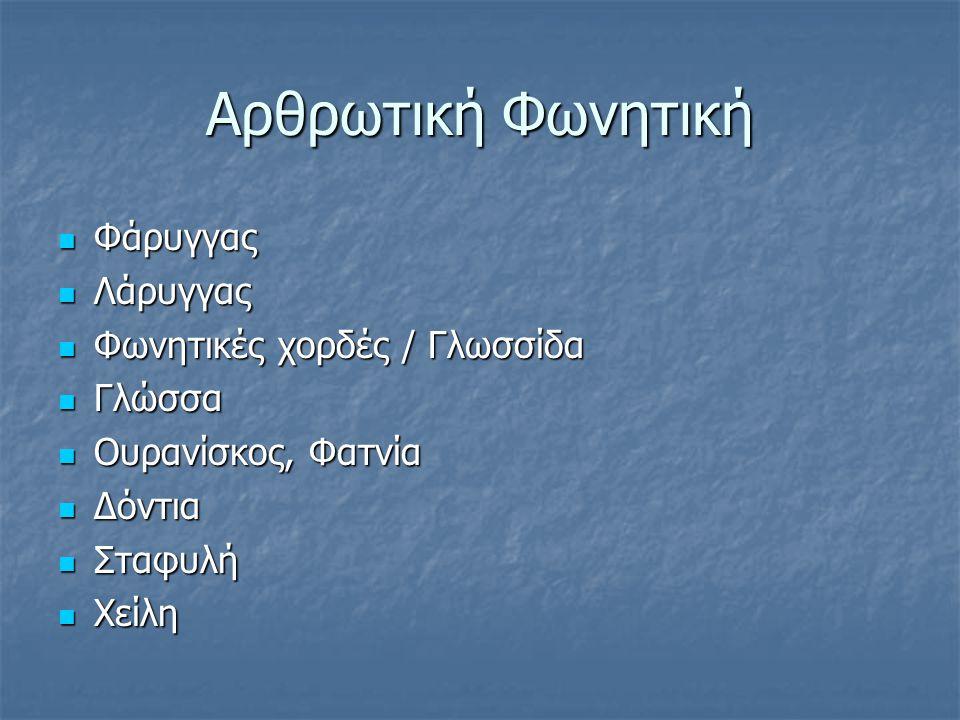 Αρθρωτική Φωνητική Φάρυγγας Φάρυγγας Λάρυγγας Λάρυγγας Φωνητικές χορδές / Γλωσσίδα Φωνητικές χορδές / Γλωσσίδα Γλώσσα Γλώσσα Ουρανίσκος, Φατνία Ουρανί