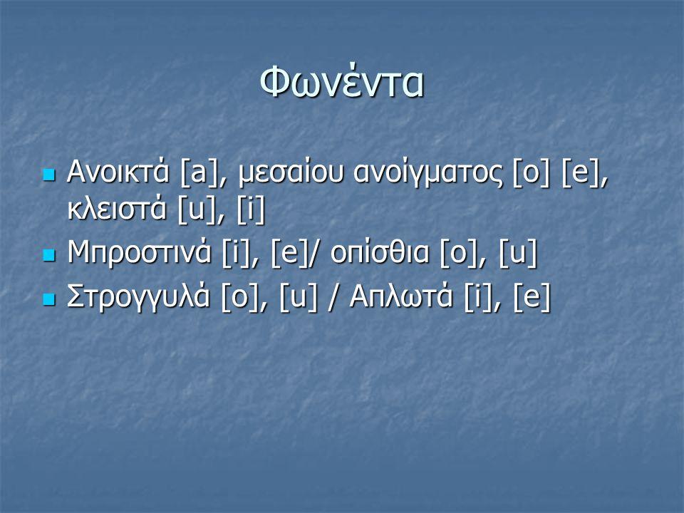 Φωνέντα Ανοικτά [a], μεσαίου ανοίγματος [o] [e], κλειστά [u], [i] Ανοικτά [a], μεσαίου ανοίγματος [o] [e], κλειστά [u], [i] Μπροστινά [i], [e]/ οπίσθι