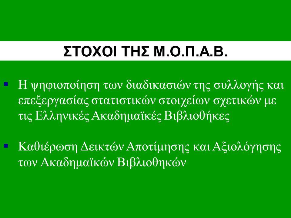  Η ψηφιοποίηση των διαδικασιών της συλλογής και επεξεργασίας στατιστικών στοιχείων σχετικών με τις Ελληνικές Ακαδημαϊκές Βιβλιοθήκες  Καθιέρωση Δεικτών Αποτίμησης και Αξιολόγησης των Ακαδημαϊκών Βιβλιοθηκών ΣΤΟΧΟΙ ΤΗΣ Μ.Ο.Π.Α.Β.