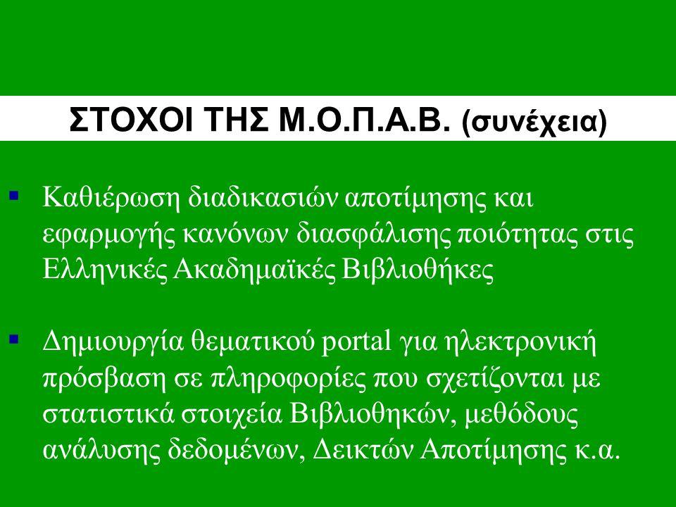  Καθιέρωση διαδικασιών αποτίμησης και εφαρμογής κανόνων διασφάλισης ποιότητας στις Ελληνικές Ακαδημαϊκές Βιβλιοθήκες  Δημιουργία θεματικού portal για ηλεκτρονική πρόσβαση σε πληροφορίες που σχετίζονται με στατιστικά στοιχεία Βιβλιοθηκών, μεθόδους ανάλυσης δεδομένων, Δεικτών Αποτίμησης κ.α.