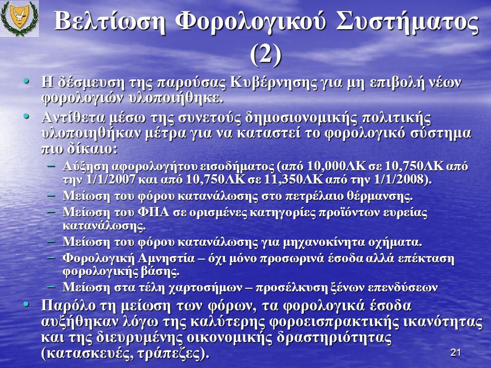 21 Η δέσμευση της παρούσας Κυβέρνησης για μη επιβολή νέων φορολογιών υλοποιήθηκε.