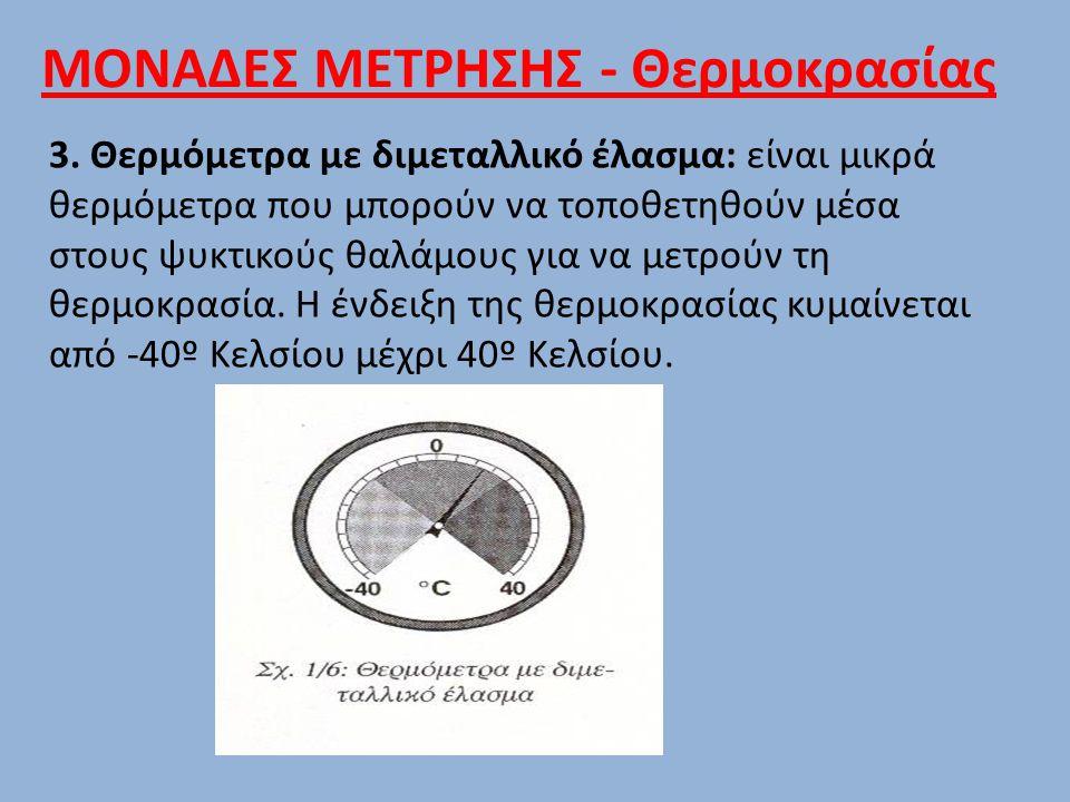 3. Θερμόμετρα με διμεταλλικό έλασμα: είναι μικρά θερμόμετρα που μπορούν να τοποθετηθούν μέσα στους ψυκτικούς θαλάμους για να μετρούν τη θερμοκρασία. Η