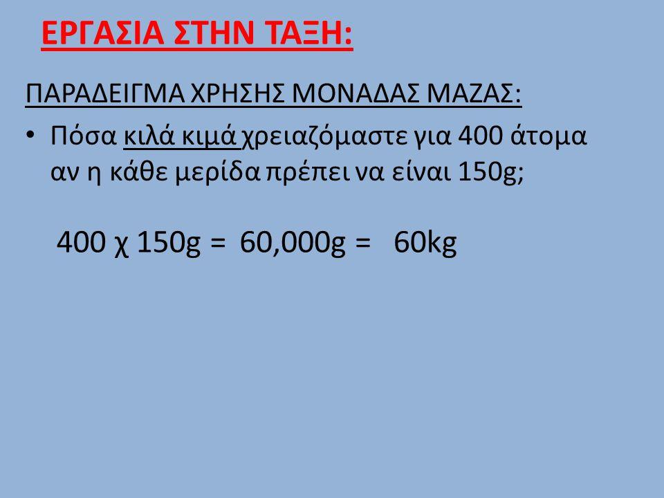 ΕΡΓΑΣΙΑ ΣΤΗΝ ΤΑΞΗ: ΠΑΡΑΔΕΙΓΜΑ ΧΡΗΣΗΣ ΜΟΝΑΔΑΣ ΜΑΖΑΣ: Πόσα κιλά κιμά χρειαζόμαστε για 400 άτομα αν η κάθε μερίδα πρέπει να είναι 150g; 400 χ 150g =60,00