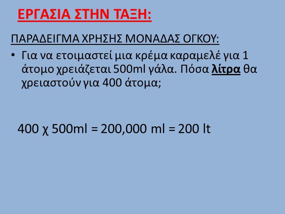ΕΡΓΑΣΙΑ ΣΤΗΝ ΤΑΞΗ: ΠΑΡΑΔΕΙΓΜΑ ΧΡΗΣΗΣ ΜΟΝΑΔΑΣ ΟΓΚΟΥ: Για να ετοιμαστεί μια κρέμα καραμελέ για 1 άτομο χρειάζεται 500ml γάλα. Πόσα λίτρα θα χρειαστούν γ
