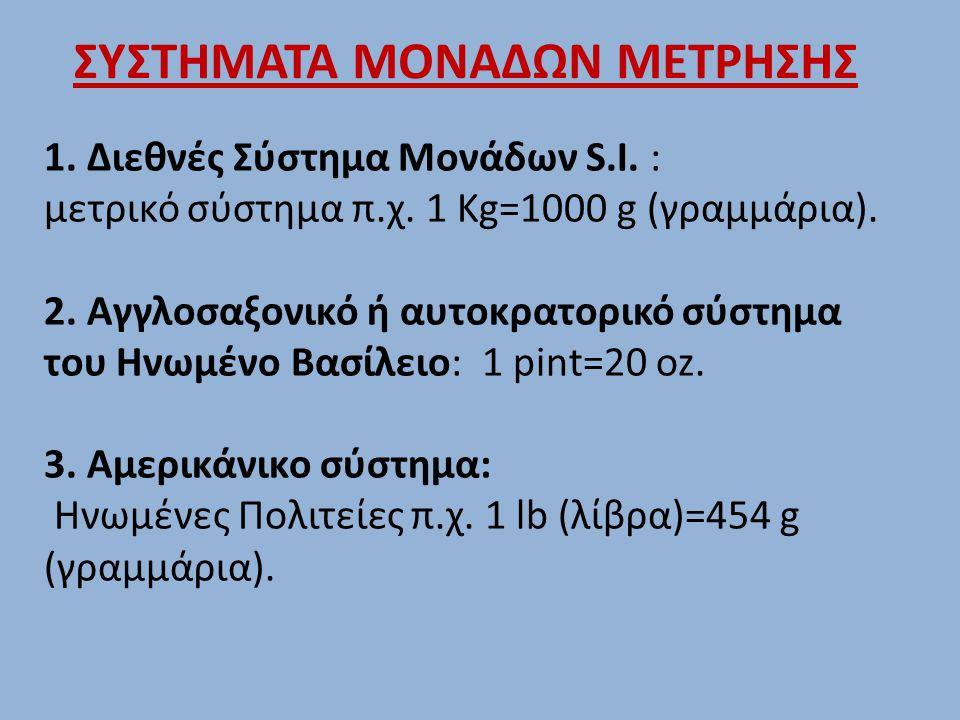 1. Διεθνές Σύστημα Μονάδων S.I. : μετρικό σύστημα π.χ. 1 Kg=1000 g (γραμμάρια). 2. Αγγλοσαξονικό ή αυτοκρατορικό σύστημα του Ηνωμένο Βασίλειο: 1 pint=