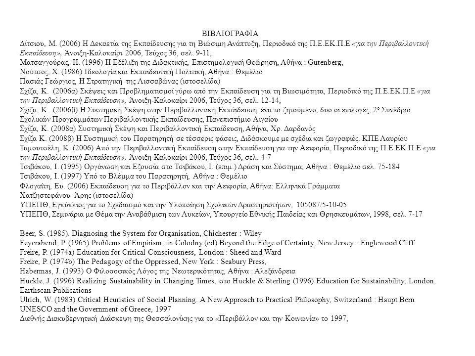 ΒΙΒΛΙΟΓΡΑΦΙΑ Δίτσιου, Μ. (2006) Η Δεκαετία της Εκπαίδευσης για τη Βιώσιμη Ανάπτυξη, Περιοδικό της Π.Ε.ΕΚ.Π.Ε «για την Περιβαλλοντική Εκπαίδευση», Άνοι