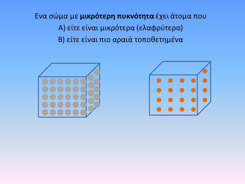 Ενα σώμα με μικρότερη πυκνότητα έχει άτομα που Α) είτε είναι μικρότερα (ελαφρύτερα) Β) είτε είναι πιο αραιά τοποθετημένα