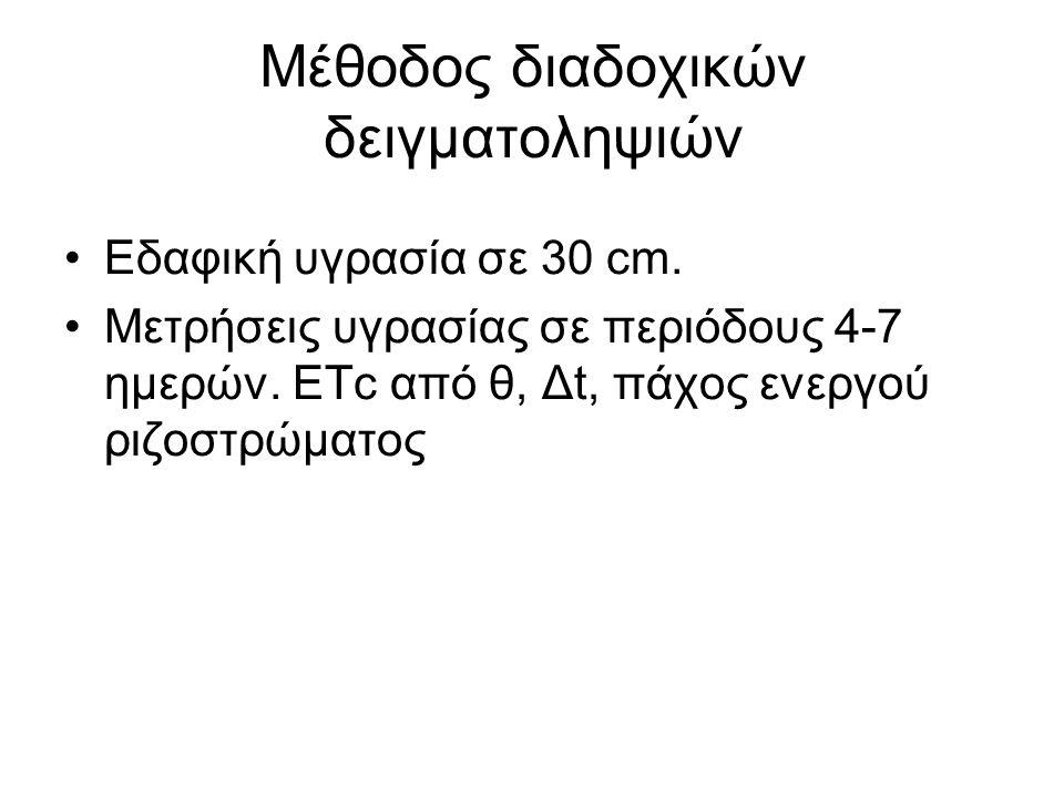 Εδαφική υγρασία σε 30 cm. Μετρήσεις υγρασίας σε περιόδους 4-7 ημερών. ΕΤc από θ, Δt, πάχος ενεργού ριζοστρώματος Μέθοδος διαδοχικών δειγματοληψιών