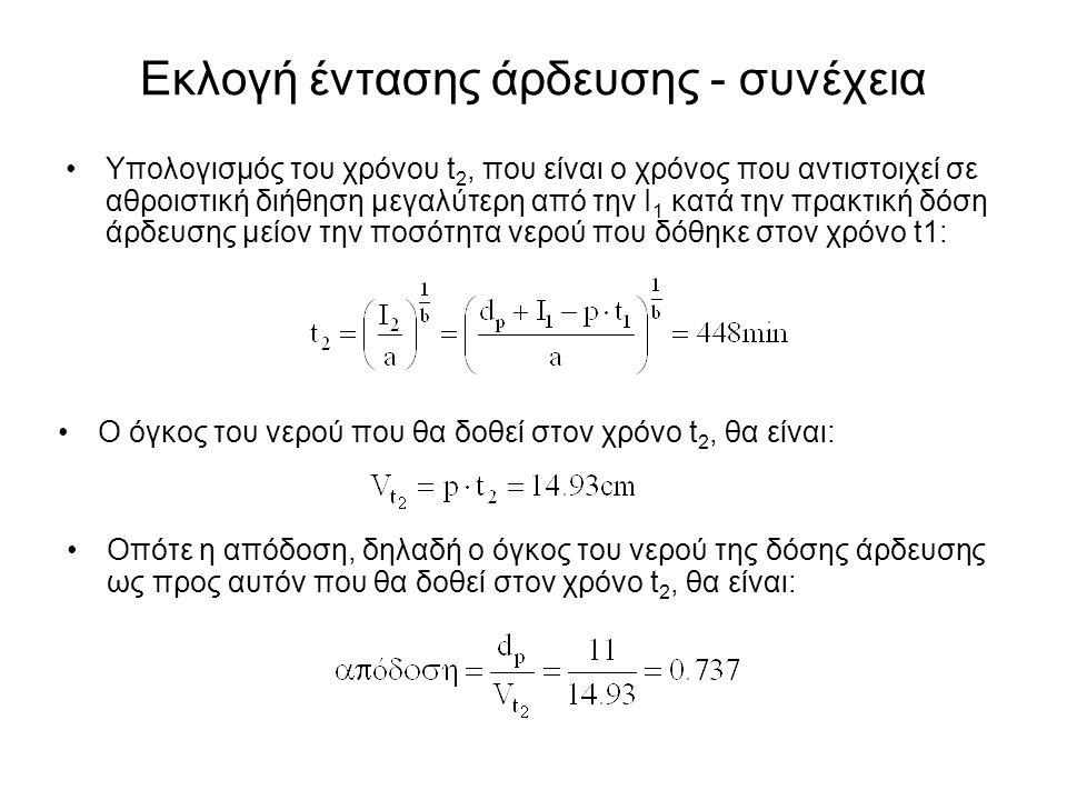 Υπολογισμός του χρόνου t 2, που είναι ο χρόνος που αντιστοιχεί σε αθροιστική διήθηση μεγαλύτερη από την Ι 1 κατά την πρακτική δόση άρδευσης μείον την