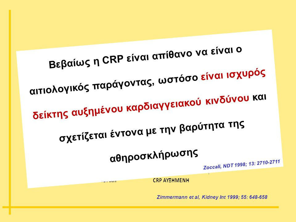 Zimmermann et al, Kidney Int 1999; 55: 648-658 Βεβαίως η CRP είναι απίθανο να είναι ο αιτιολογικός παράγοντας, ωστόσο είναι ισχυρός δείκτης αυξημένου
