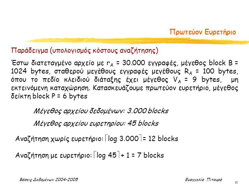 Βάσεις Δεδομένων 2004-2005 Ευαγγελία Πιτουρά 10 Πρωτεύον Ευρετήριο Παράδειγμα (υπολογισμός κόστους αναζήτησης) Έστω διατεταγμένο αρχείο με r A = 30.00