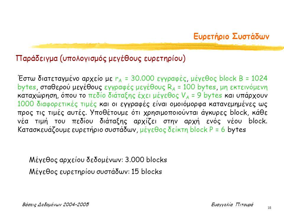 Βάσεις Δεδομένων 2004-2005 Ευαγγελία Πιτουρά 18 Ευρετήριο Συστάδων Παράδειγμα (υπολογισμός μεγέθους ευρετηρίου) Έστω διατεταγμένο αρχείο με r A = 30.0