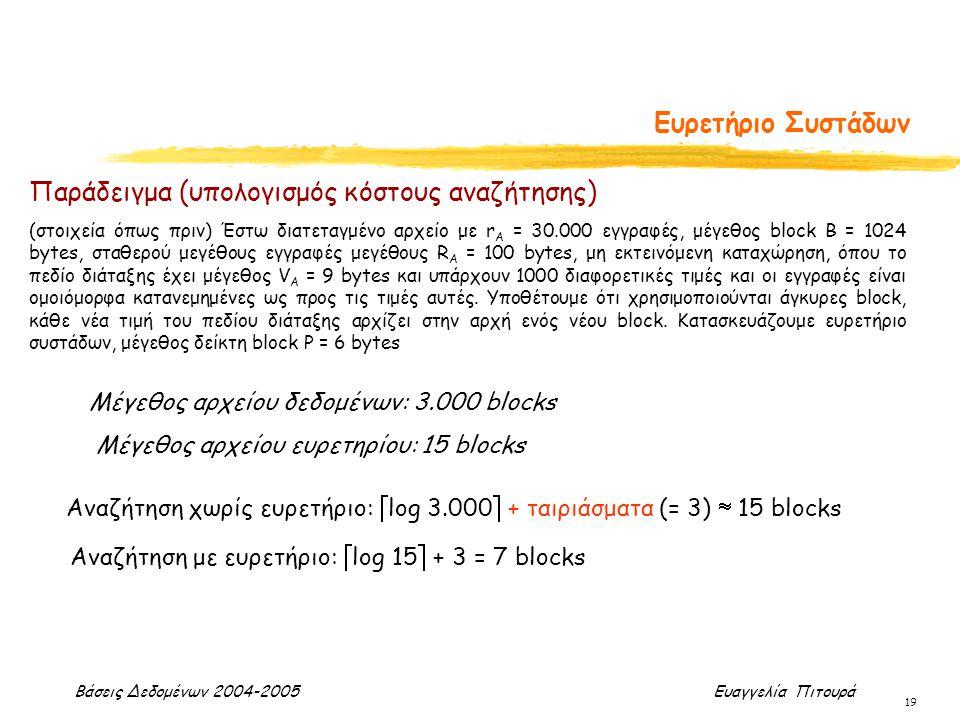 Βάσεις Δεδομένων 2004-2005 Ευαγγελία Πιτουρά 19 Ευρετήριο Συστάδων Μέγεθος αρχείου δεδομένων: 3.000 blocks Μέγεθος αρχείου ευρετηρίου: 15 blocks Αναζή