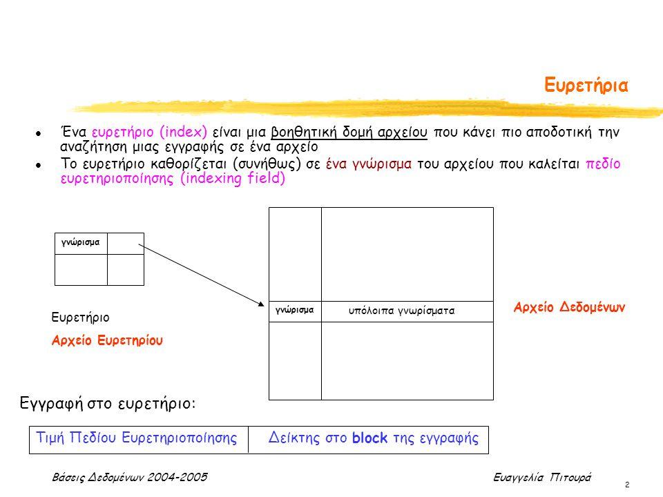 Βάσεις Δεδομένων 2004-2005 Ευαγγελία Πιτουρά 2 l Ένα ευρετήριο (index) είναι μια βοηθητική δομή αρχείου που κάνει πιο αποδοτική την αναζήτηση μιας εγγ