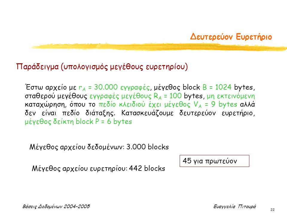 Βάσεις Δεδομένων 2004-2005 Ευαγγελία Πιτουρά 22 Δευτερεύον Ευρετήριο Έστω αρχείο με r Α = 30.000 εγγραφές, μέγεθος block B = 1024 bytes, σταθερού μεγέ