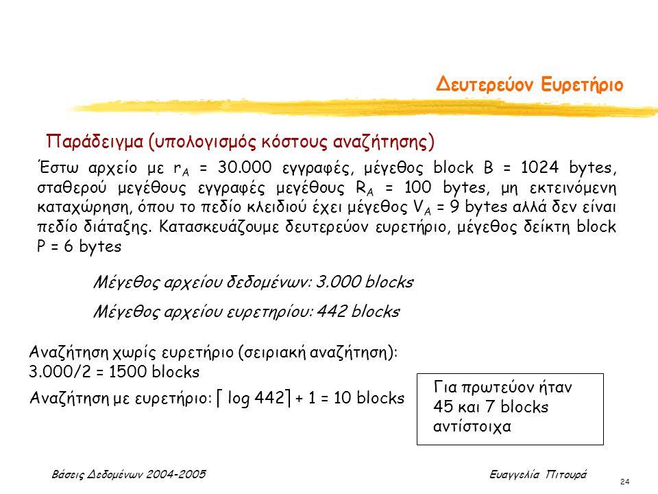 Βάσεις Δεδομένων 2004-2005 Ευαγγελία Πιτουρά 24 Δευτερεύον Ευρετήριο Μέγεθος αρχείου δεδομένων: 3.000 blocks Μέγεθος αρχείου ευρετηρίου: 442 blocks Αν